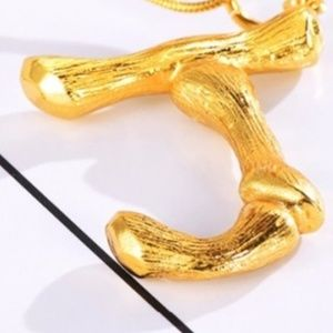 """Jewelry - NEW """"J"""" Large Bamboo Initial Letter Necklace J"""
